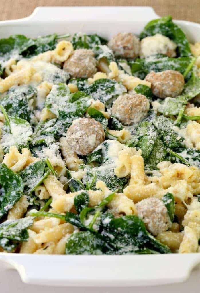 Italian Wedding Meatball Baked Ziti is a pasta recipe with fresh spinach, meatballs and cheese