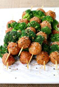 Korean Beef and Broccoli Meatball Kabobs
