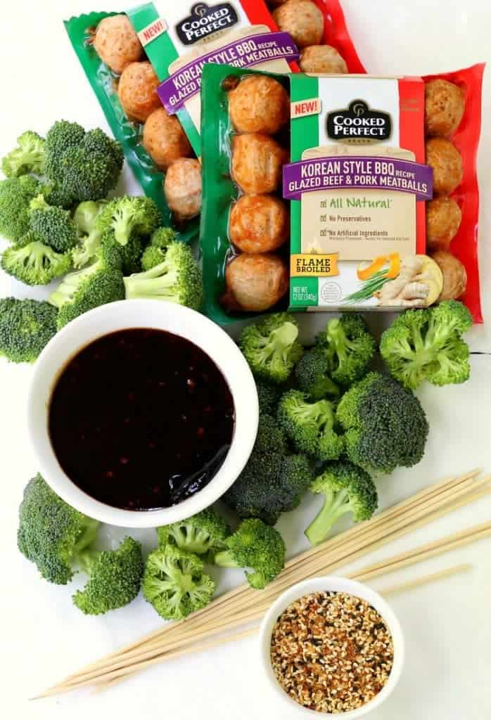 store bought meatballs and broccoli to make kabobs