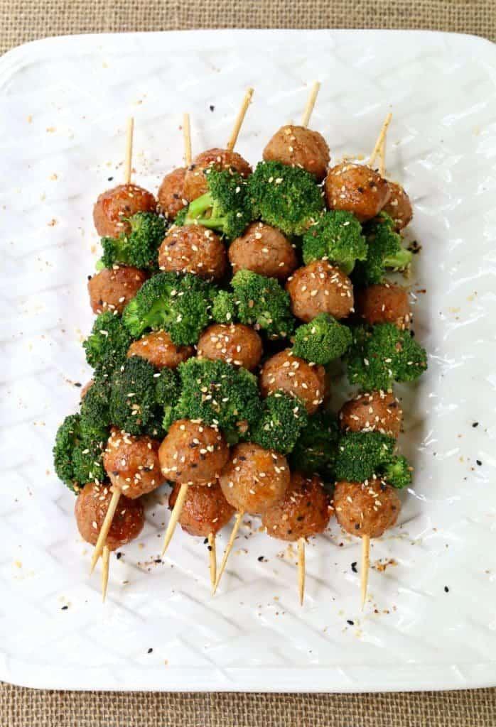meatball and broccoli kabobs on platter