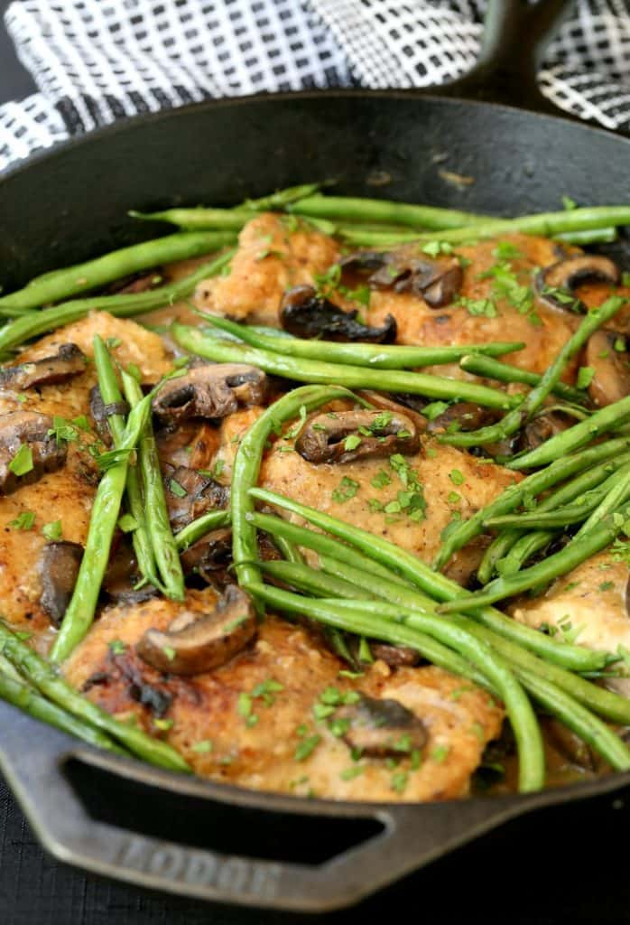 Skillet Chicken Thighs with Green Beans and Mushrooms in pan
