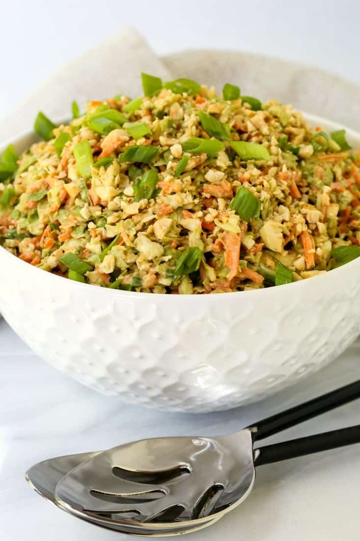 Thai Peanut Brussels Sprout Coleslaw is a coleslaw recipe with brussel sprouts and cabbage