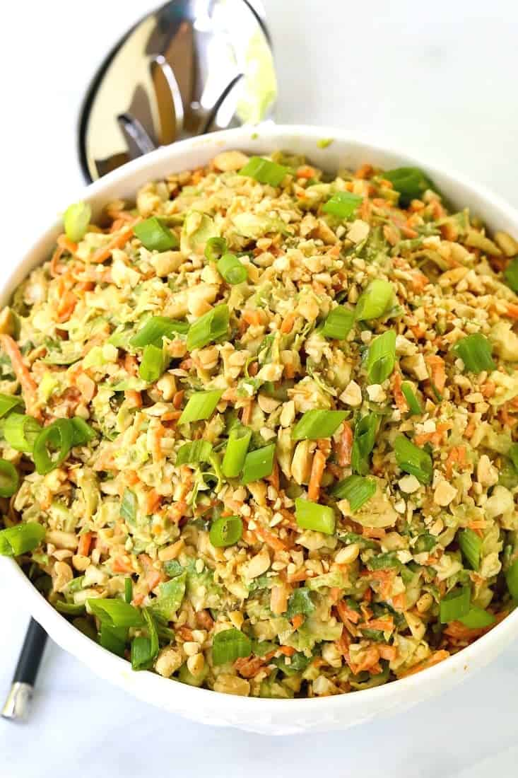 Thai Peanut Brussels Sprout Coleslaw is a cabbage recipe with shaved brussels sprouts