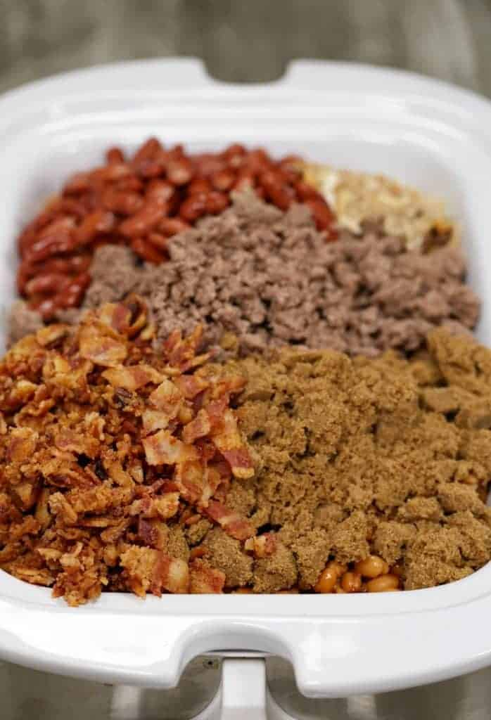 Buddha's Baked Beans are made with ground beef, bacon and brown sugar.