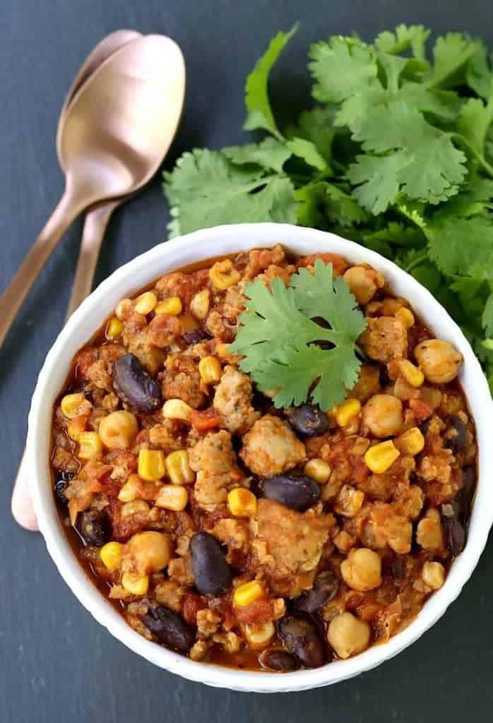 Chicken Sausage Fiesta Chili Recipe in bowl
