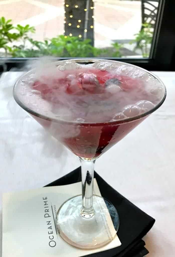 Berries and Blueberries martini with dry ice