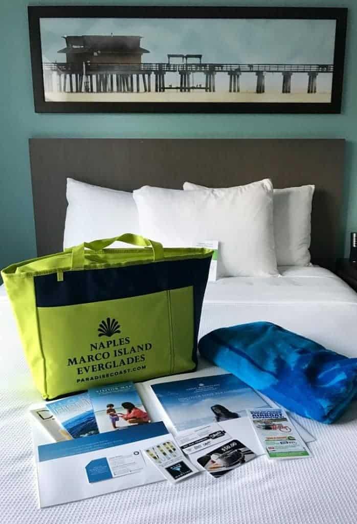 Swag bag in hotel room