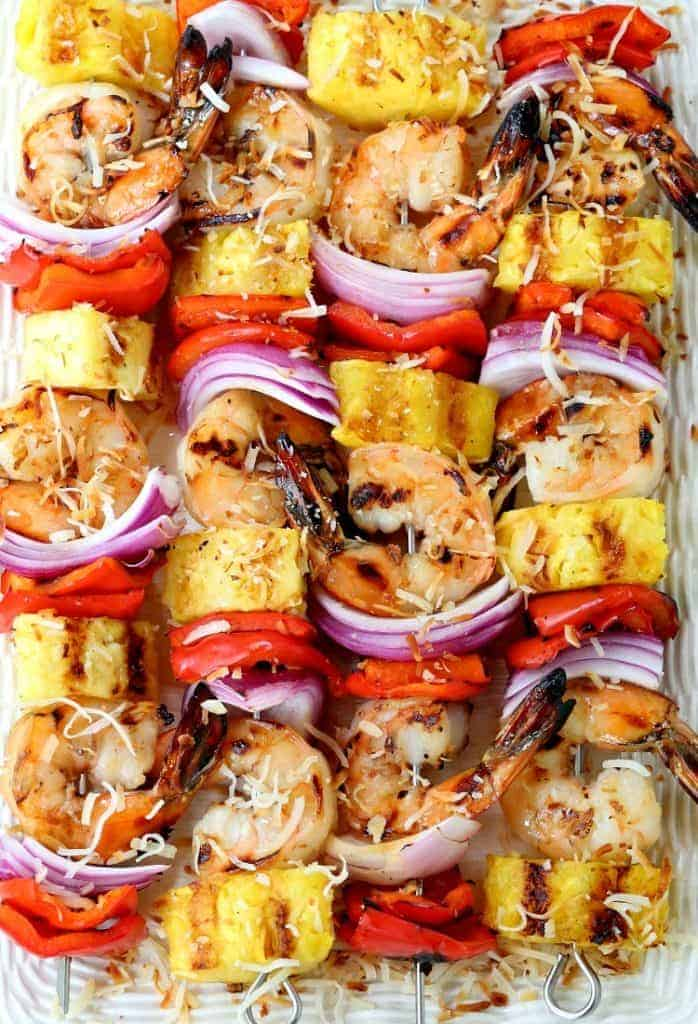 Pina Colada Shrimp Kabobs serving