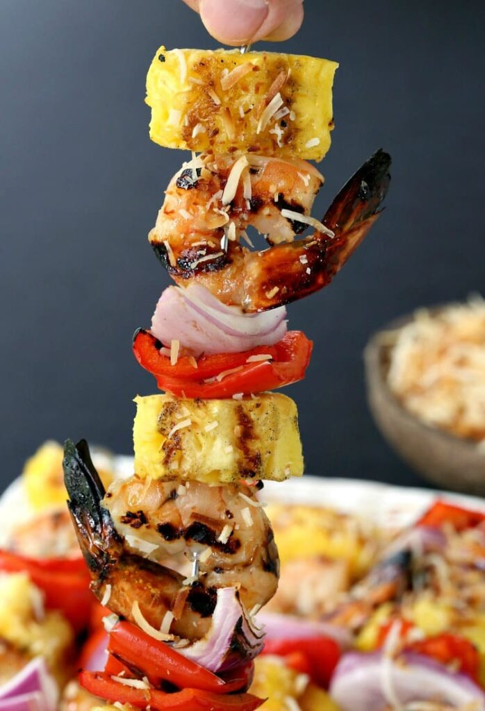 Pina Colada Shrimp Kabobs for your next BBQ!