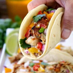 Slow Cooker Crispy Chicken Carnitas can be served with all your favorite toppings!