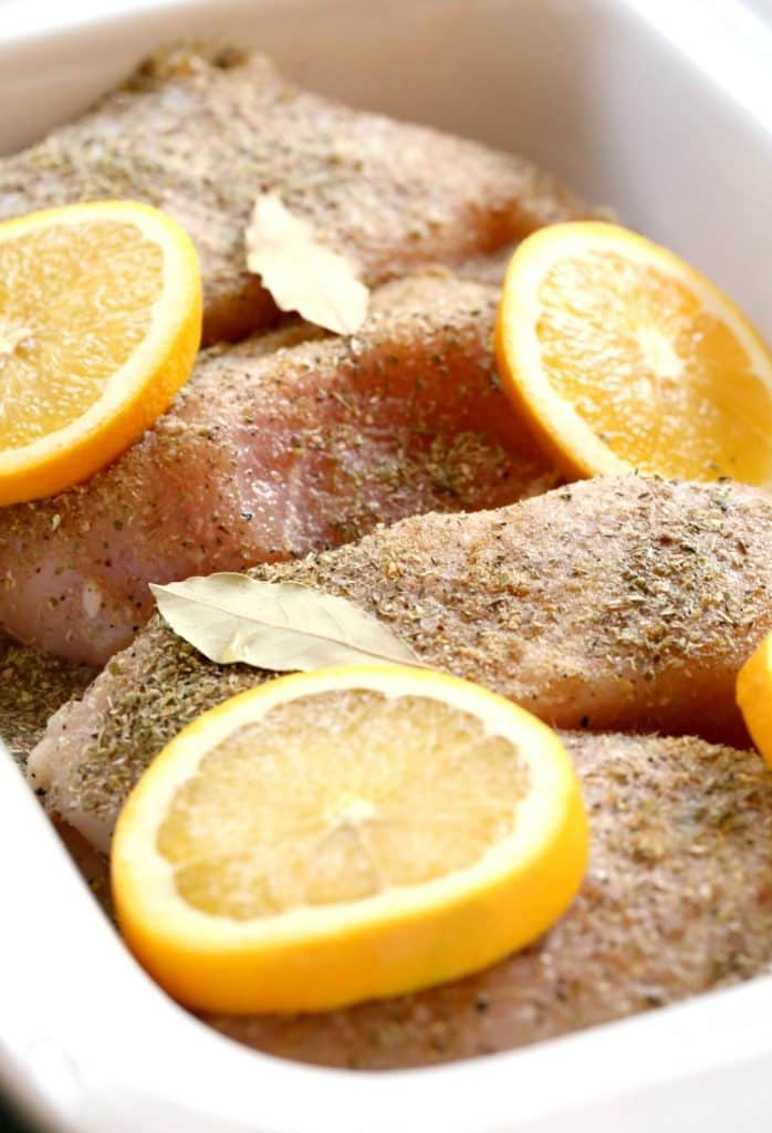 Slow Cooker Crispy Chicken Carnitas seasoned.