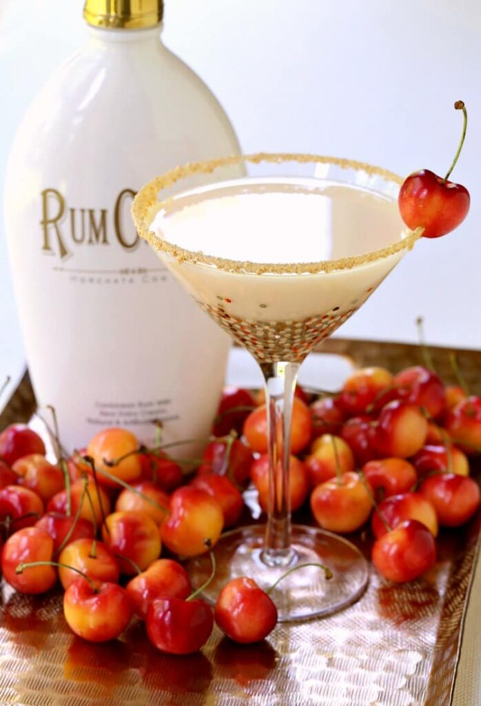 A RumChata Cherry Pie Martini is a rumchata drink that can de served as a dessert cocktail