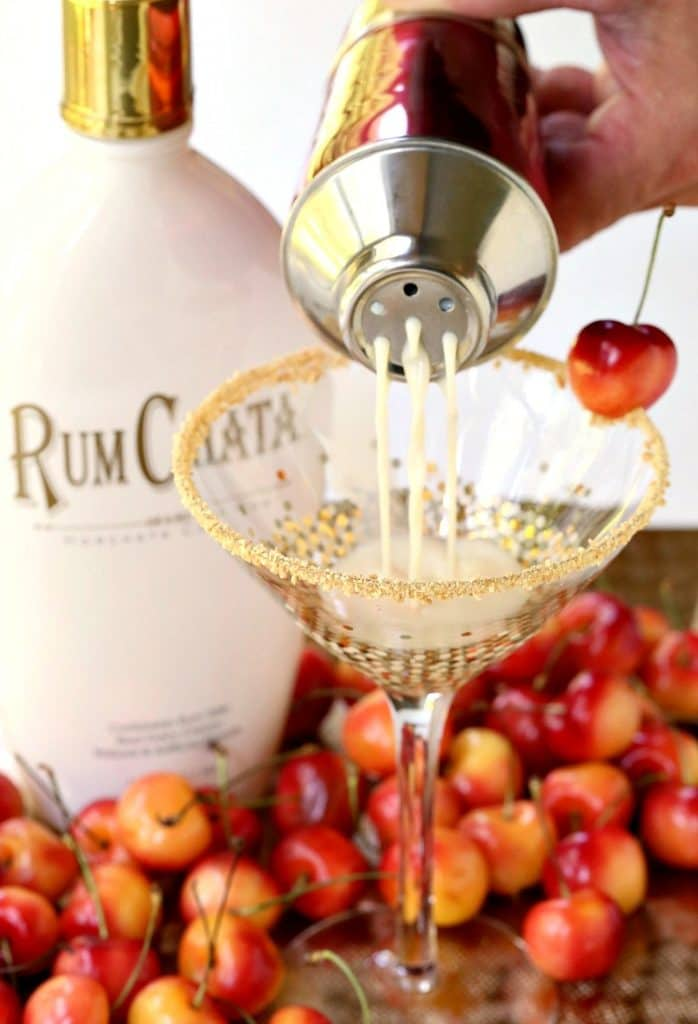 A RumChata Cherry Pie Martini is a RumChata drink that's made with cherry vodka