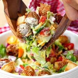 Cheeseburger Chopped Salad with Dill Pickle Dressing is what I call a fun dinner!