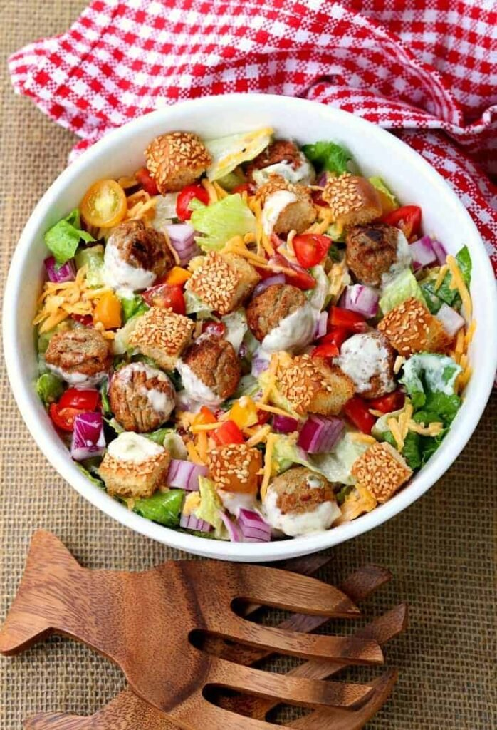Cheeseburger Chopped Salad with Dill Pickle Dressing is a salad that's hearty enough for dinner!