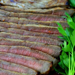 This French Dressing Steak marinates only in French dressing and onions!