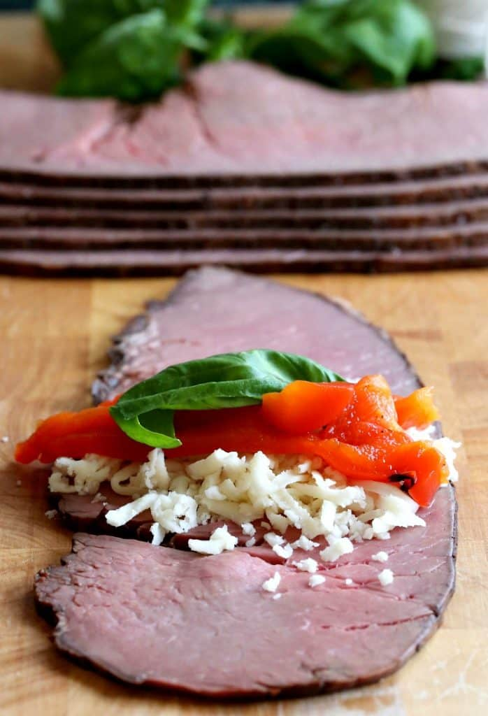This Short Cut Beef Braciole has a simple filling of cheese, peppers and basil.