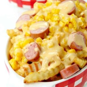 Make this Corn Dog Poutine for a fun family dinner!