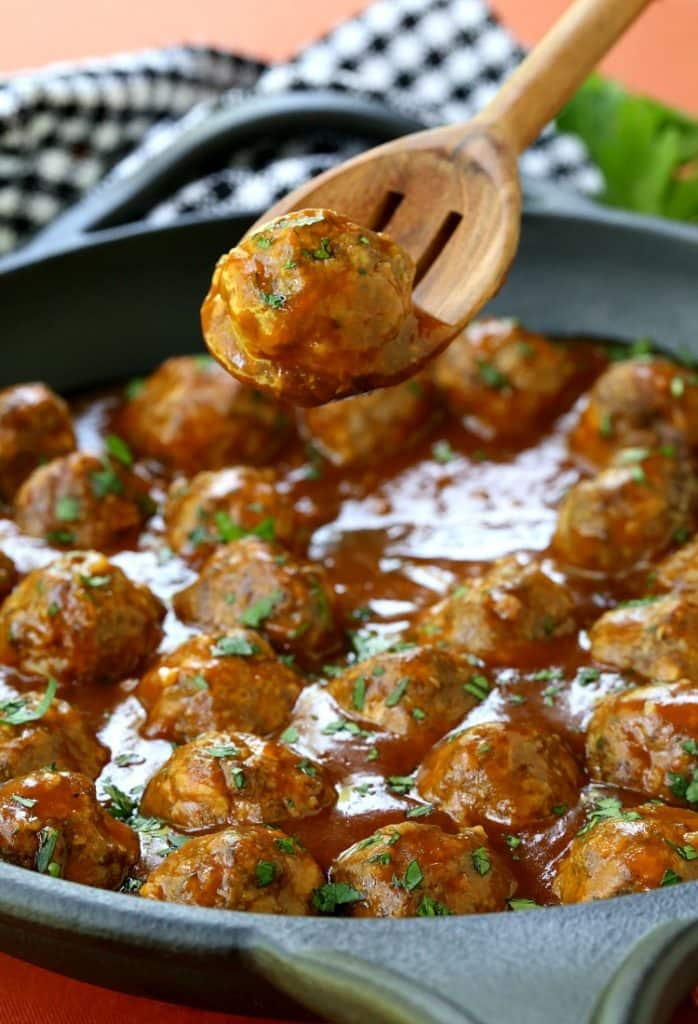 Pumpkin Glazed Cocktail Meatballs are an easy meatball recipe that's tossed in a sweet and spicy glaze