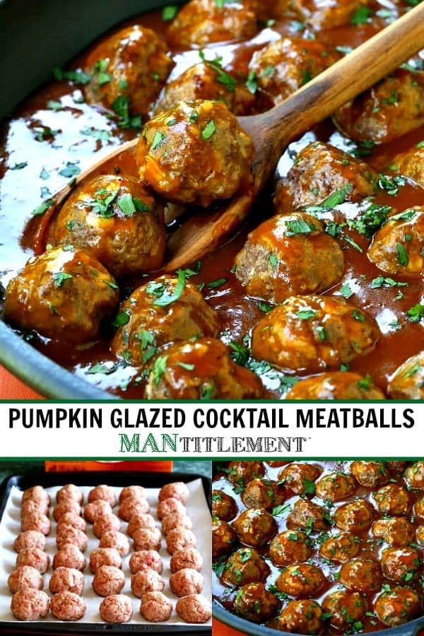 pumpkin glazed cocktail meatball collage for Pinterest