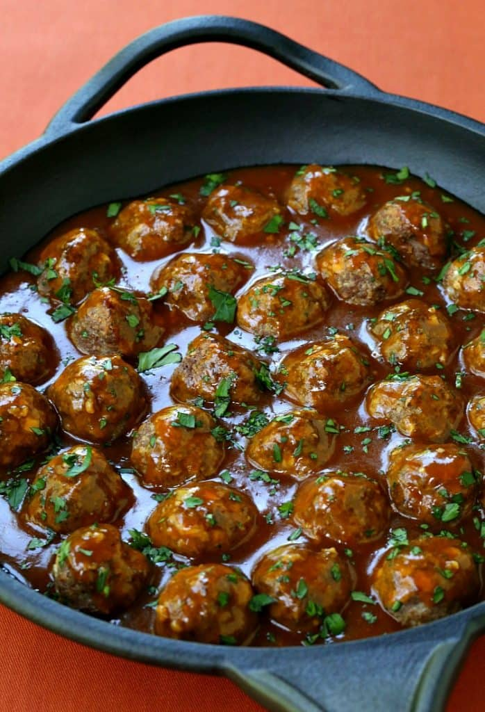 Pumpkin Glazed Cocktail Meatballs are the perfect, bite sized Fall appetizer!