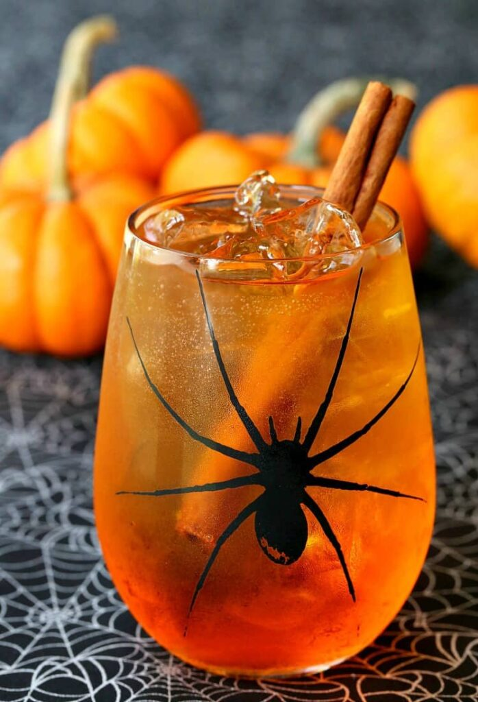Pumpkin Spiced Wine Spritzer for a Halloween cocktail