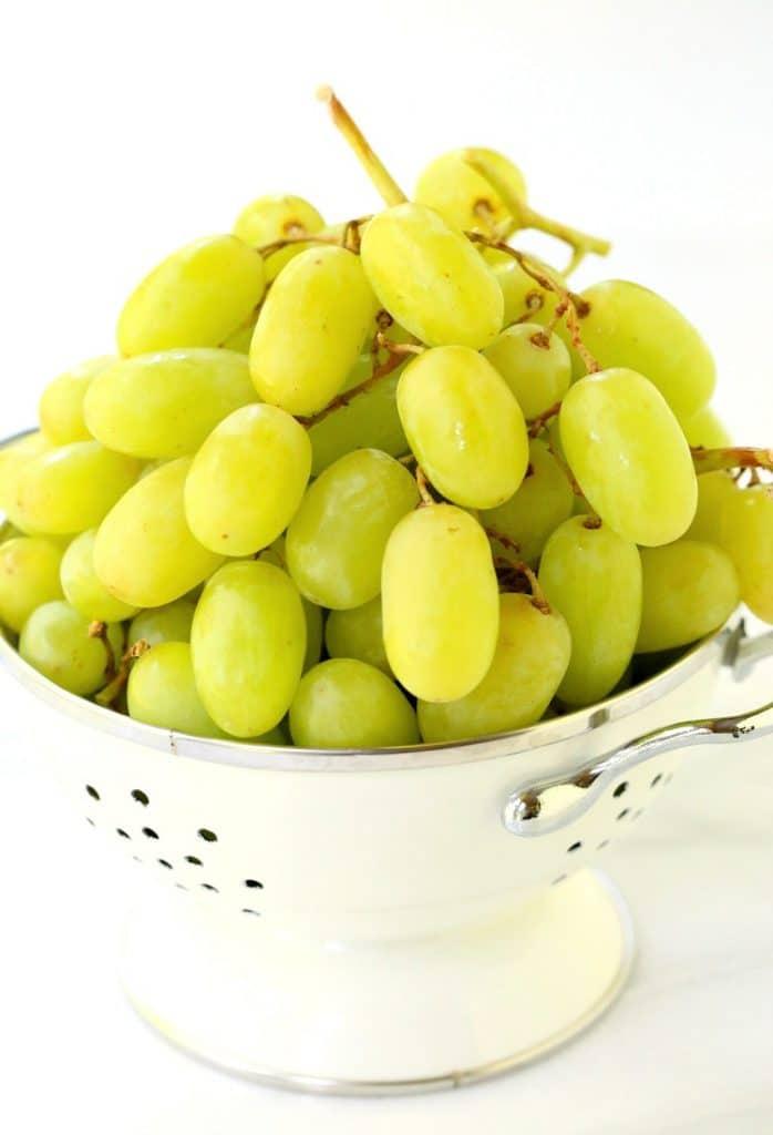 Sugared Prosecco Grapes, colander