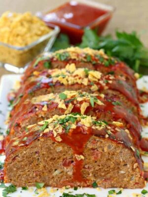 Kick up taco night with this Turkey Taco Meatloaf for dinner!