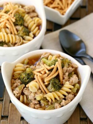 Our kids loved this Chicken and Broccoli Soup for dinner!