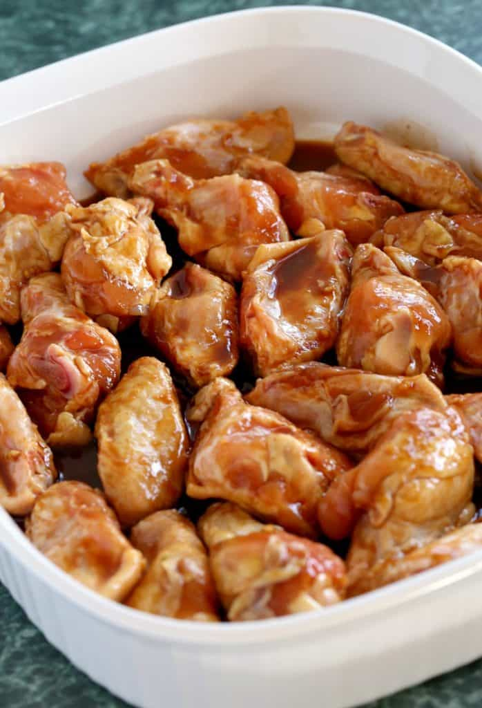 Easy Baked Chicken Wings Recipe in a dish marinating