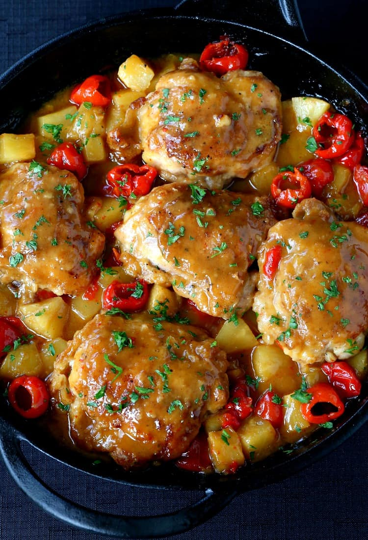 Upside Down Pineapple Chicken Thighs recipe has a sweet and glazy sauce