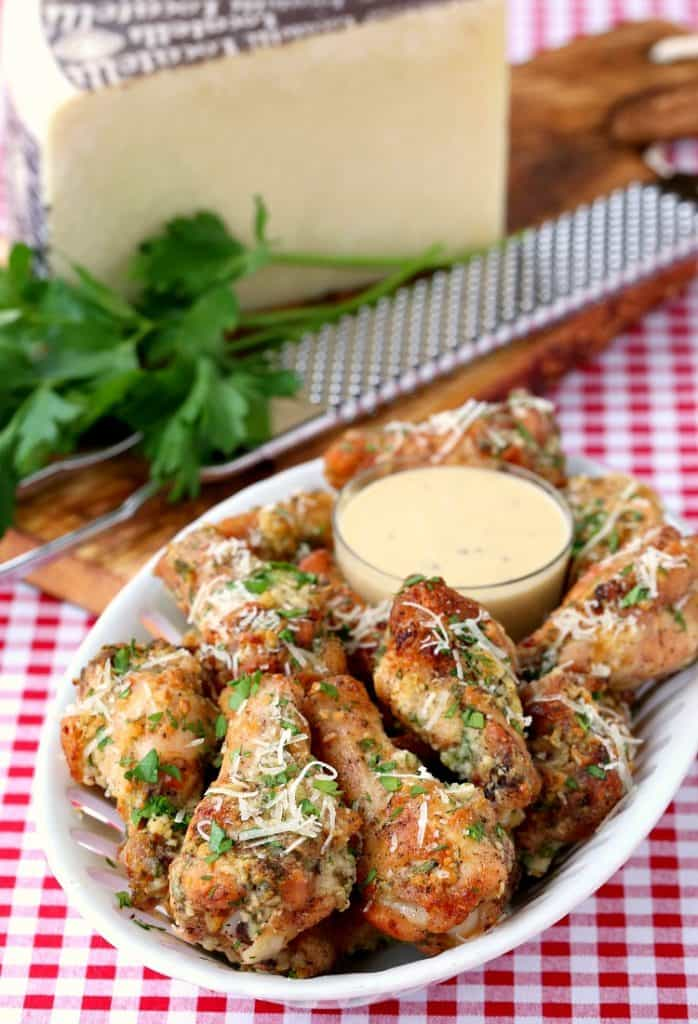 Baked Garlic Parmesan Chicken Wings are a chicken wing recipe baked with a garlic parmesan sauce
