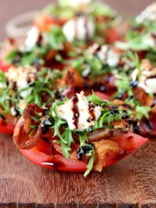 BLT Bites made on tomatoes for a low carb appetizer