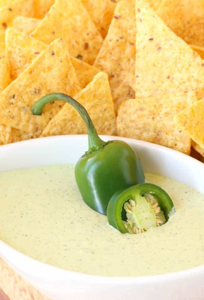 Creamy Jalapeño Dip is the perfect match for chips!