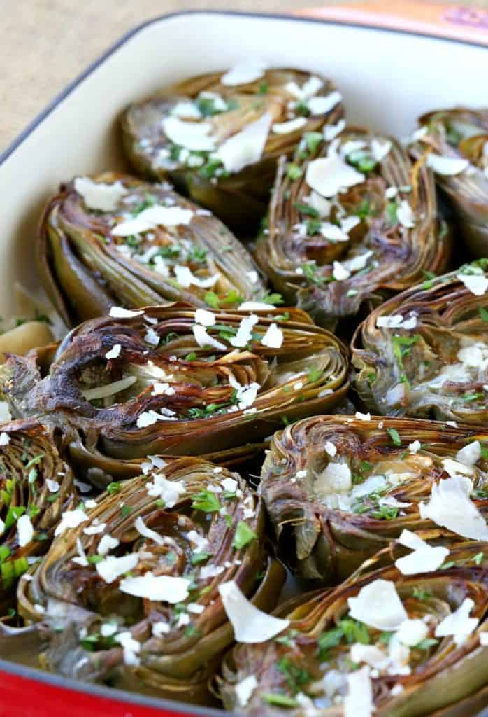 These Roasted Brown Butter Artichokes are my favorite vegetable to have with any dinner!