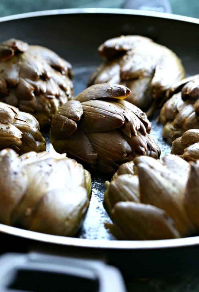 These Roasted Brown Butter Artichokes brown in butter to crisp them up!