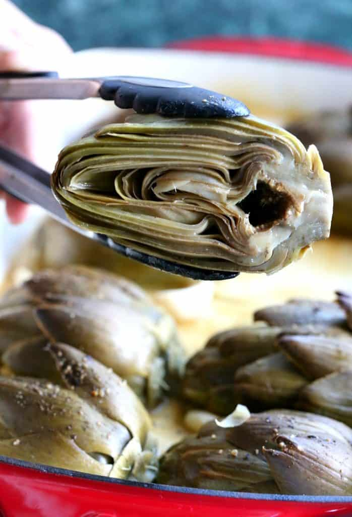 Roasted Brown Butter Artichokes cook in the oven for just 30 minutes!