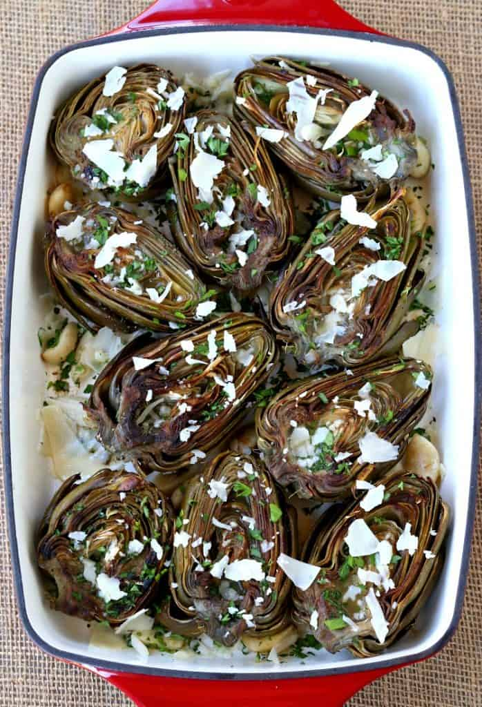 These Roasted Brown Butter Artichokes are an easy, flavorful side dish!