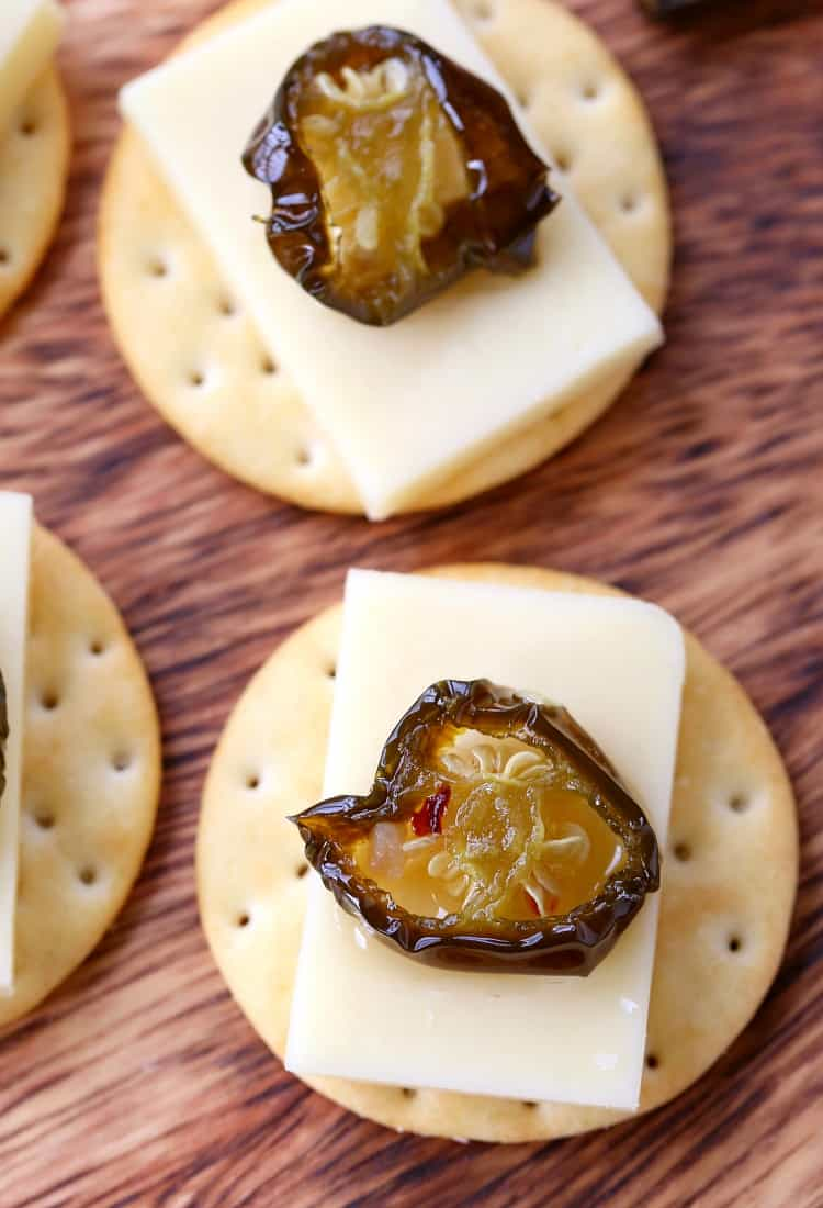 Candied Jalapeños on crackers with cheese