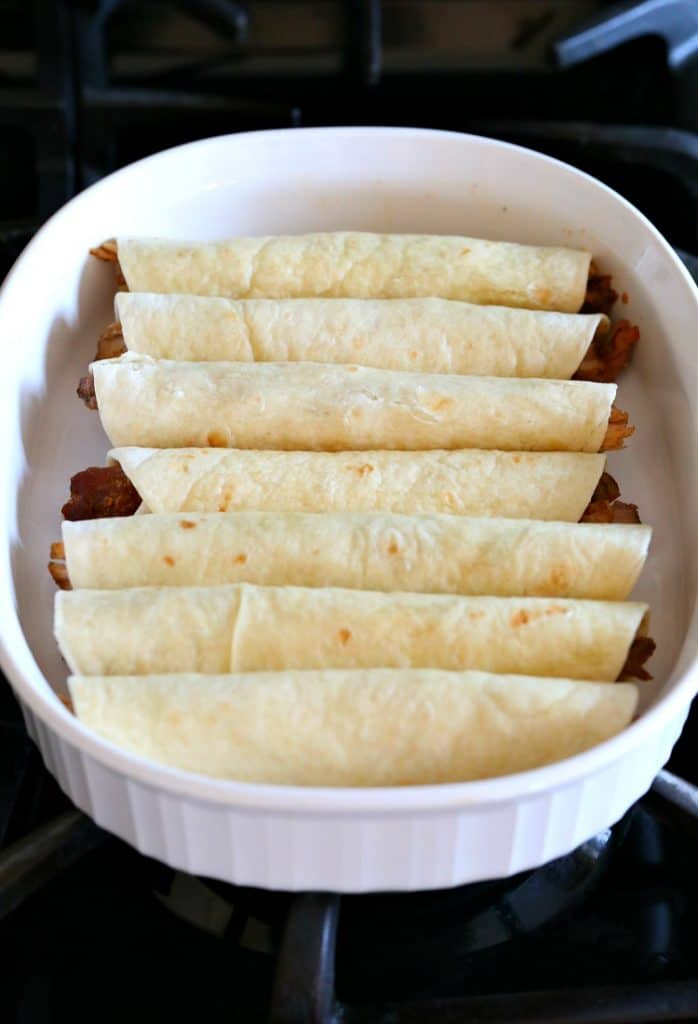This Honey Mustard Pulled Pork Taquitos recipe bakes until the tortillas are crispy.