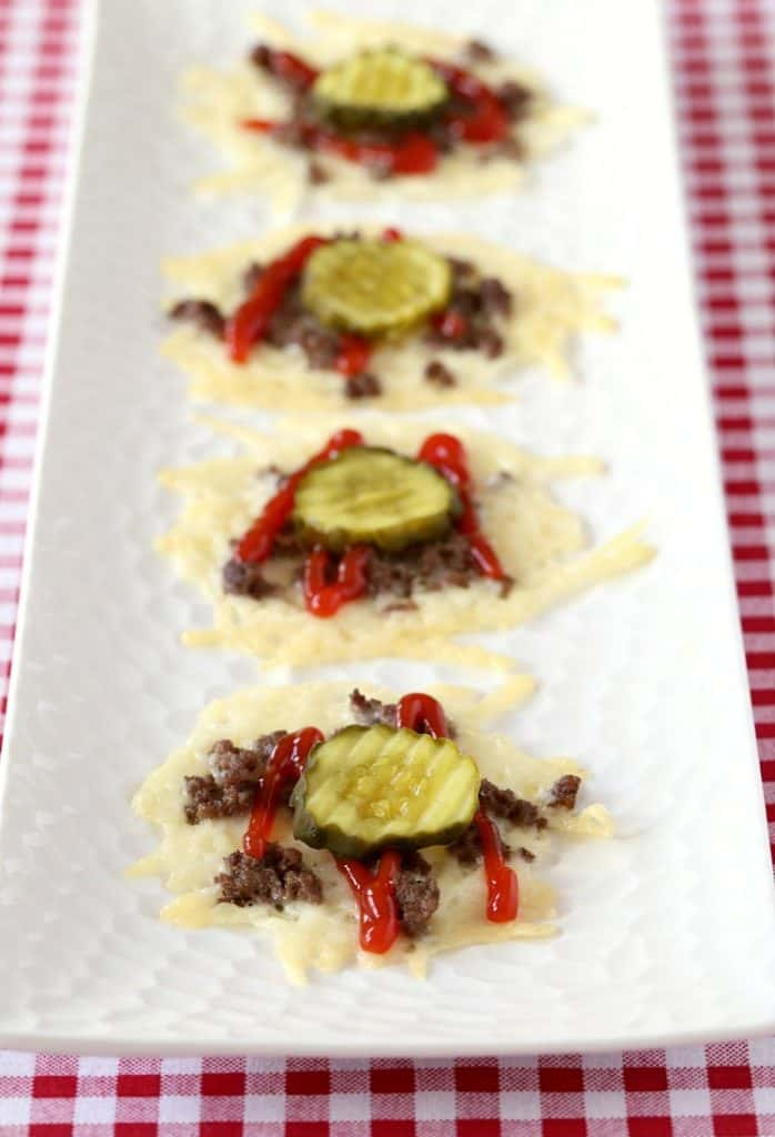 Hamburger Cheese Crisps are a low carb appetizer recipe
