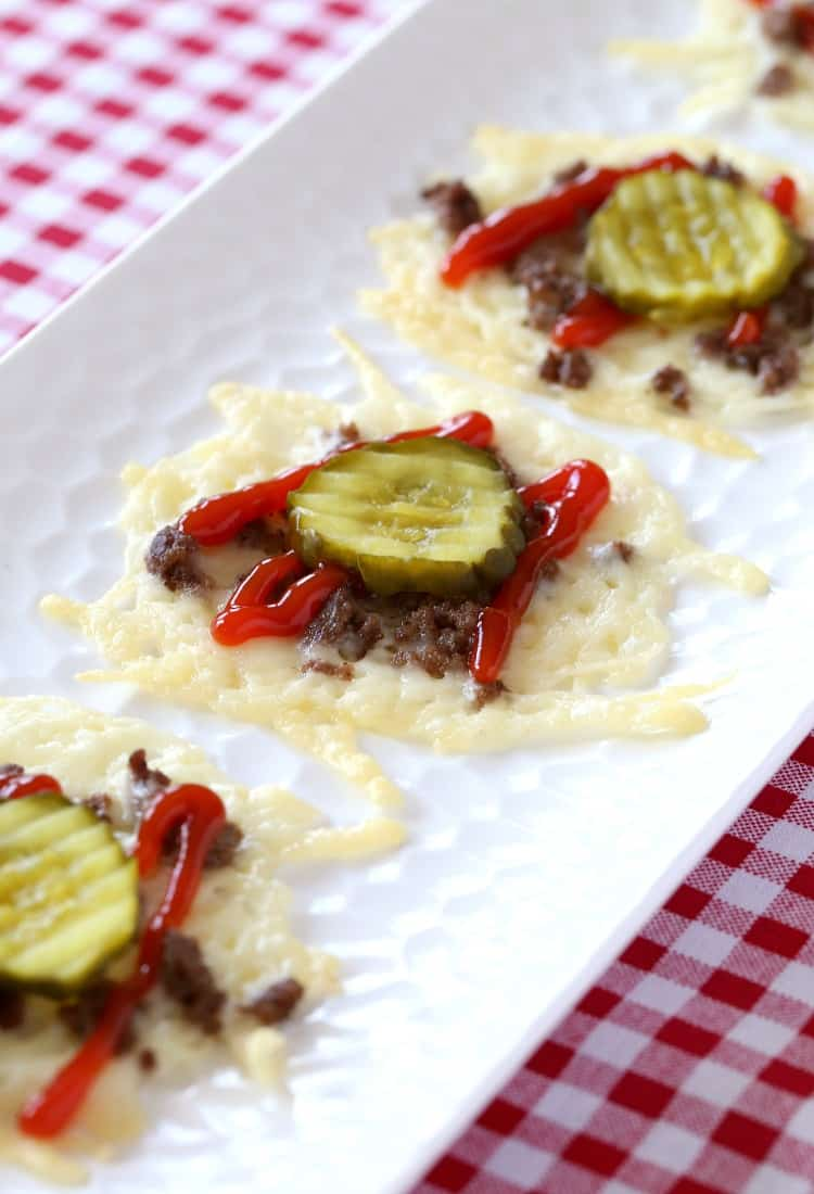 Low Carb Hamburger Cheese Crisps are going to be the hit of the appetizer table!