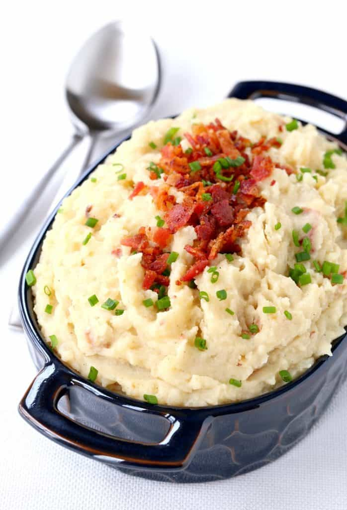 Slow Cooker Cheesy Bacon Mashed Potatoes are a crock pot mashed potato recipe