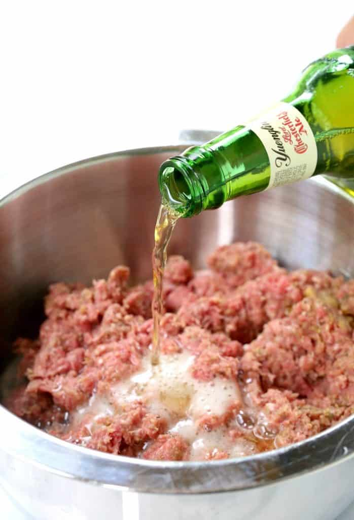 These Beer and Pretzel Cocktail Meatballs get soaked with some beer!