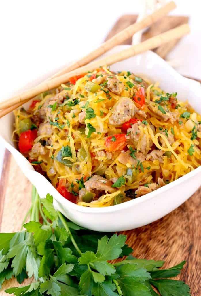 Sausage and Pepper Spaghetti Squash Stir Fry is a stir fry spaghetti squash recipe