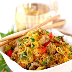 Sausage and Pepper Spaghetti Squash Stir Fry