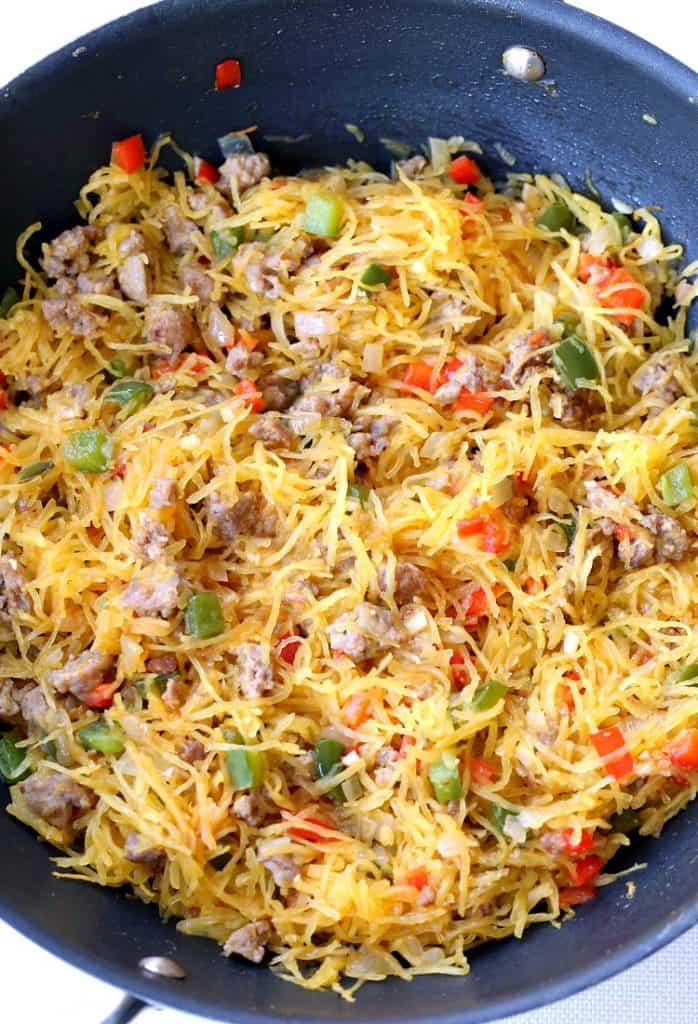 Sausage and Pepper Spaghetti Squash Stir Fry is a low carb dinner recipe with sausage and peppers