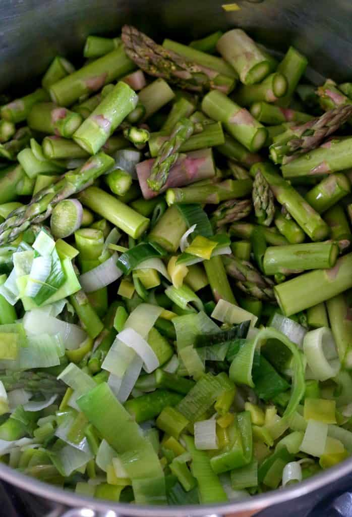 This Zero Cream Asparagus Leek Soup starts out by cooking down the vegetables.