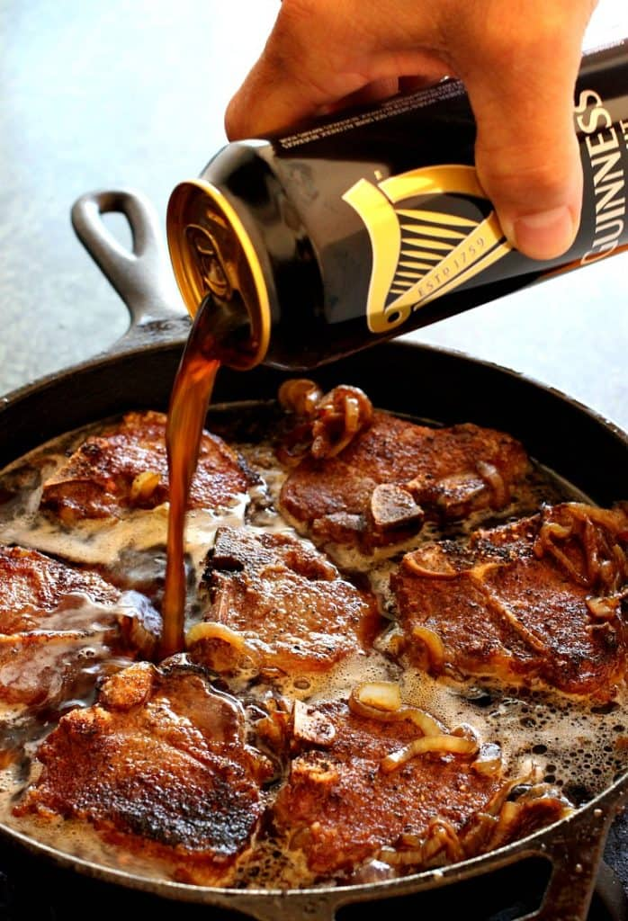Beer Braised Lamb Chops are a lamb chop recipe that is braised in the oven with dark beer