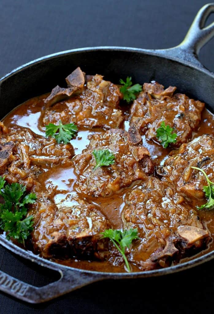 Beer Braised Lamb Chops is a lamb recipe that's simmered with beer and onions